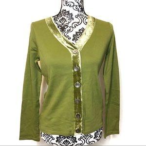 Boden Green Long Sleeve Velvet Button Lining
